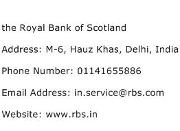 the Royal Bank of Scotland Address Contact Number