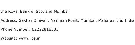 the Royal Bank of Scotland Mumbai Address Contact Number