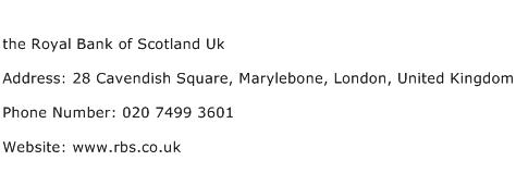 the Royal Bank of Scotland Uk Address Contact Number