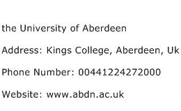 the University of Aberdeen Address Contact Number