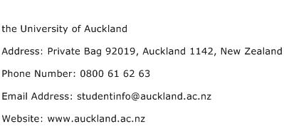 the University of Auckland Address Contact Number