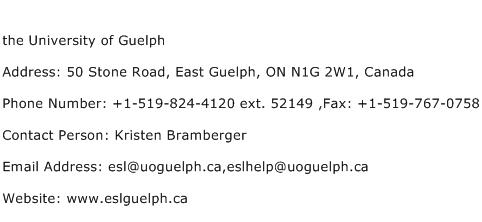 the University of Guelph Address Contact Number