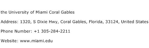 the University of Miami Coral Gables Address Contact Number